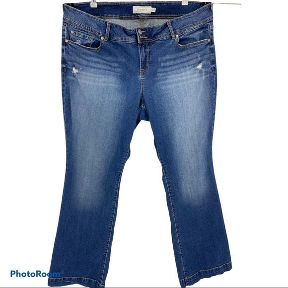 Torrid boyfriend premium jeans distress Bootcut